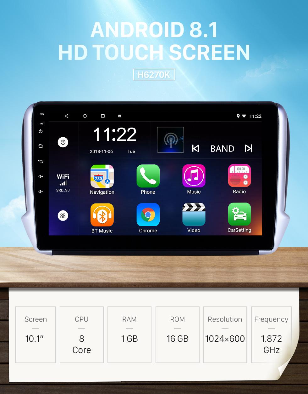 Seicane 10,1 pouces Android 8.1 Radio de navigation GPS pour 2014-2016 Peugeot 2008 avec écran tactile HD Bluetooth USB soutien AUX Carplay SWC TPMS