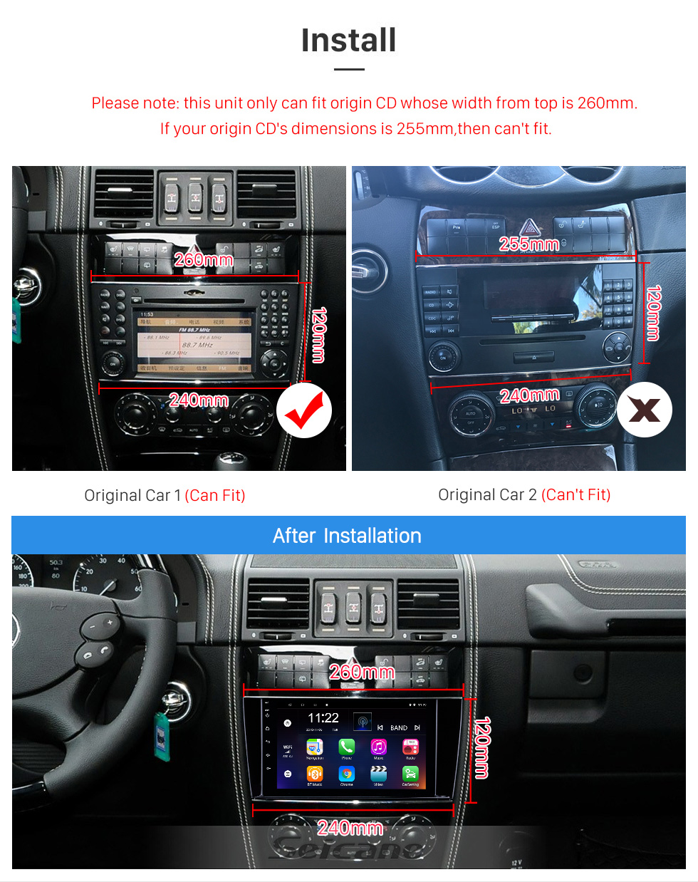 Seicane 8 inch Android 8.1 GPS Navigation Radio for 2005-2007 Mercedes-Benz G Class W467 G550 G500 G400 G320 G270 G55 with Bluetooth HD Touchscreen support Carplay DVR OBD