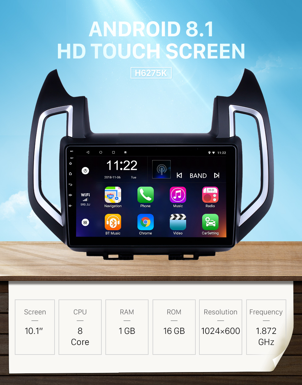 Seicane 10.1 inch Android 8.1 GPS Navigation Radio for 2017-2019 Changan Ruixing with HD Touchscreen Bluetooth USB AUX support Carplay SWC TPMS