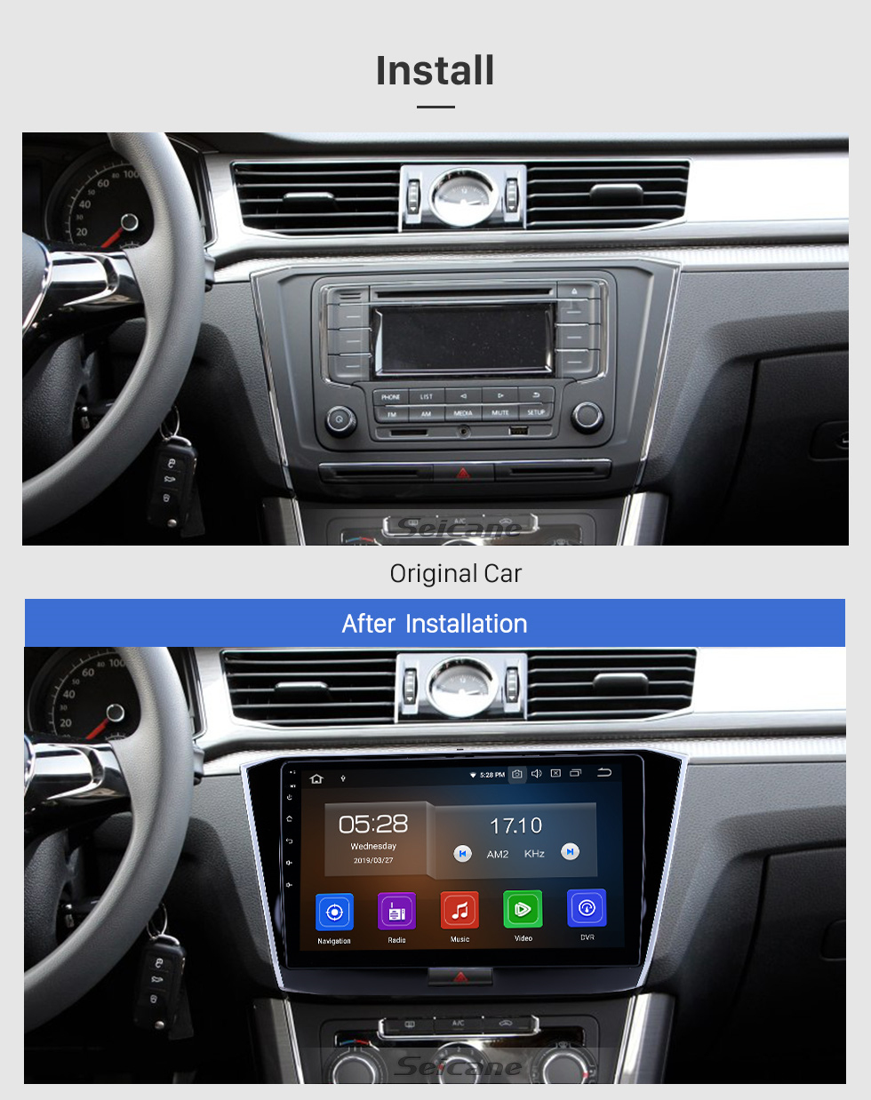 Seicane 10.1 inch Android 9.0 Radio for 2016-2018 VW Volkswagen Passat Bluetooth HD Touchscreen GPS Navigation Carplay USB support OBD2 Backup camera