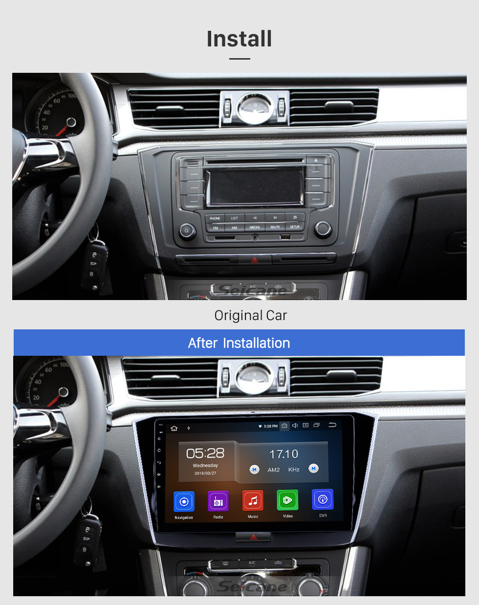 Seicane 10.1 inch 2016-2018 VW Volkswagen Passat Android 9.0 GPS Navigation Radio Bluetooth HD Touchscreen AUX USB Carplay support Mirror Link