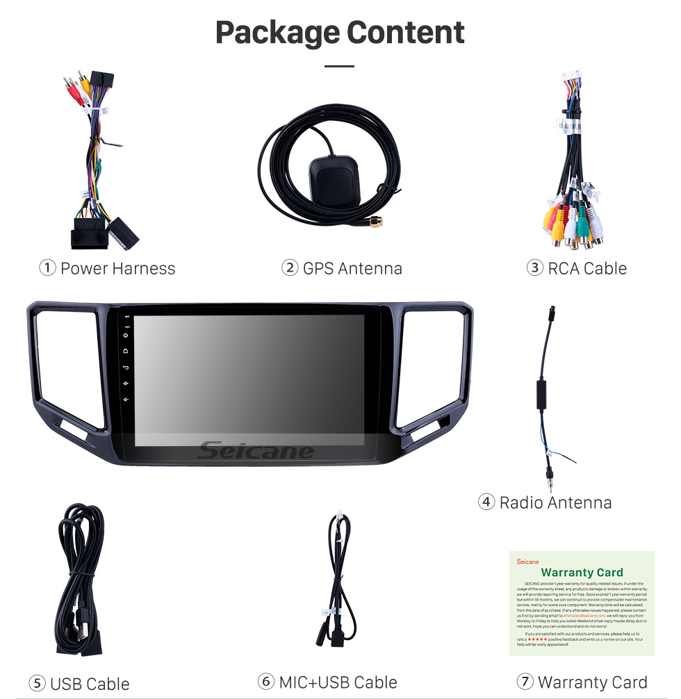 Seicane 10.1 polegada Android 9.0 Rádio para 2017-2018 Volkswagen Teramont VW Bluetooth HD Touchscreen Navegação GPS Carplay USB suporte TPMS DAB + DVR