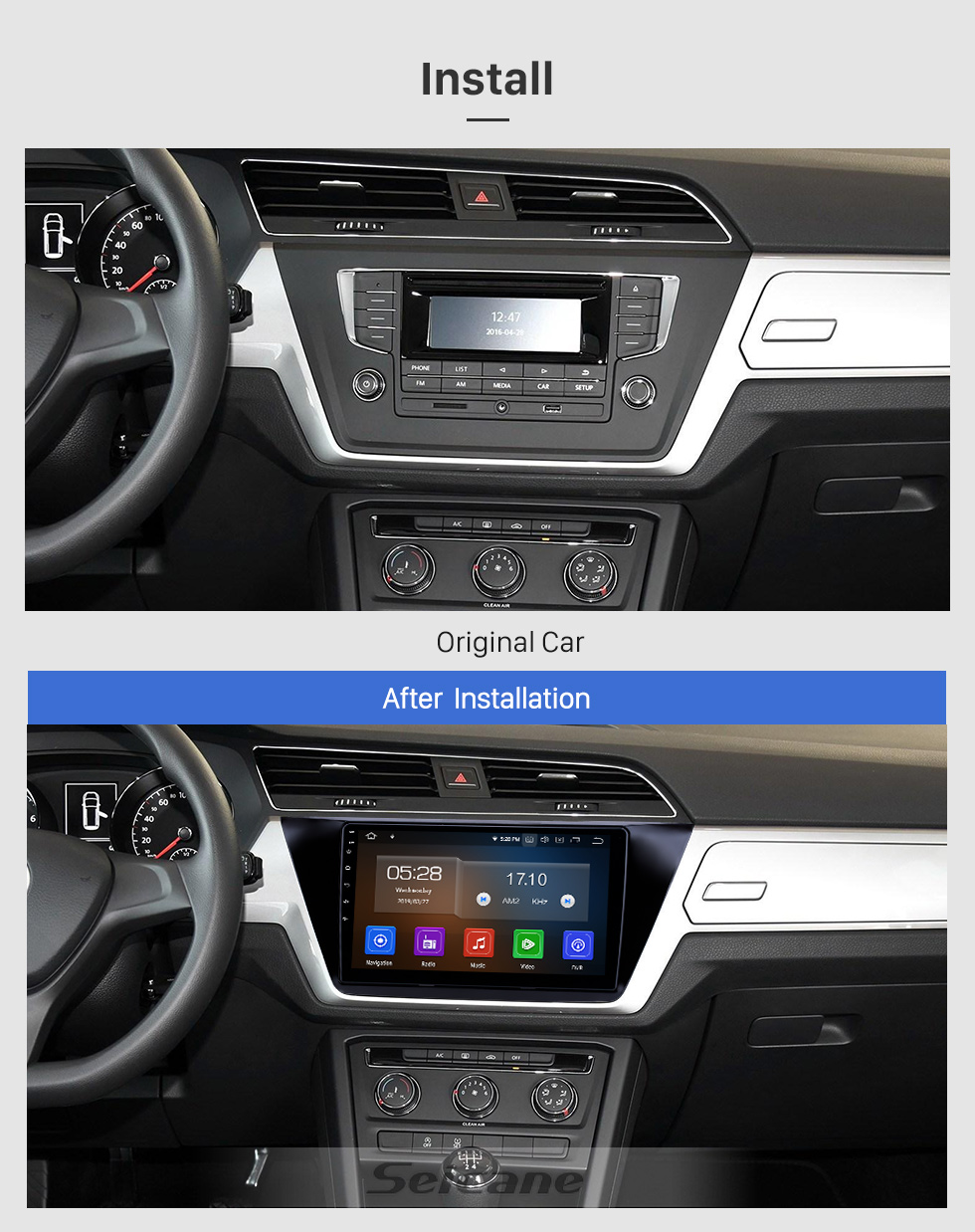Seicane 10.1 inch 2016-2018 VW Volkswagen Touran Android 9.0 GPS Navigation Radio Bluetooth HD Touchscreen AUX USB Carplay support Mirror Link