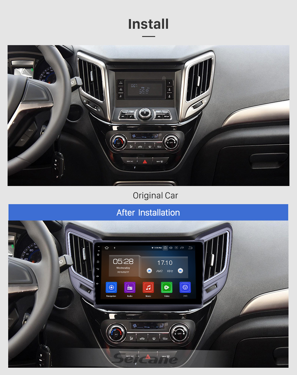 Seicane OEM 9 Zoll Android 9.0 Radio für 2016-2019 Changan CS15 Bluetooth Wifi HD Touchscreen GPS Navigation Carplay Unterstützung DAB + Rückfahrkamera