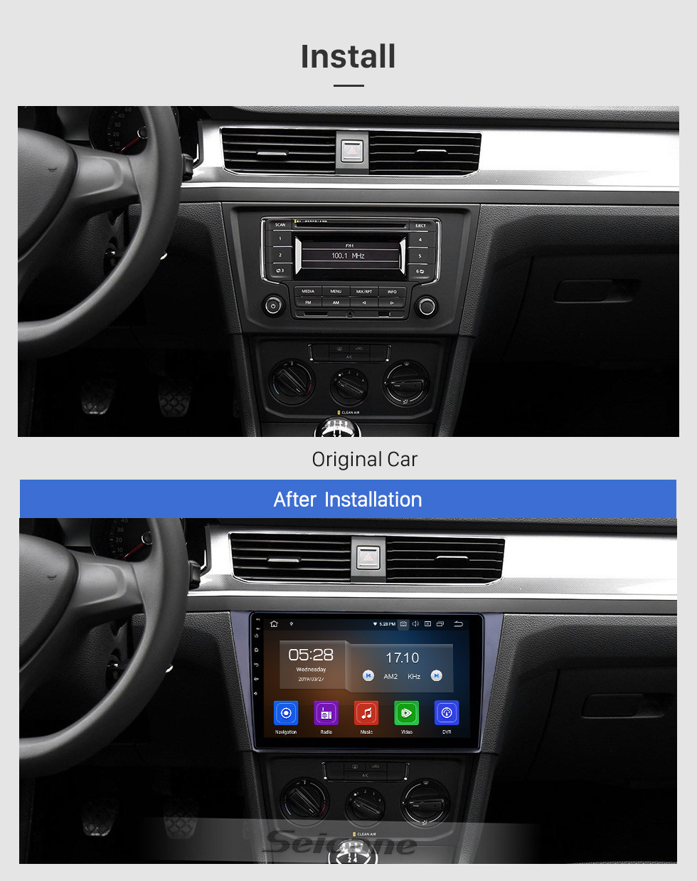 Seicane 10.1 inch Android 9.0 Radio for 2016-2018 VW Volkswagen Bora Bluetooth HD Touchscreen GPS Navigation Carplay USB support TPMS DAB+ DVR