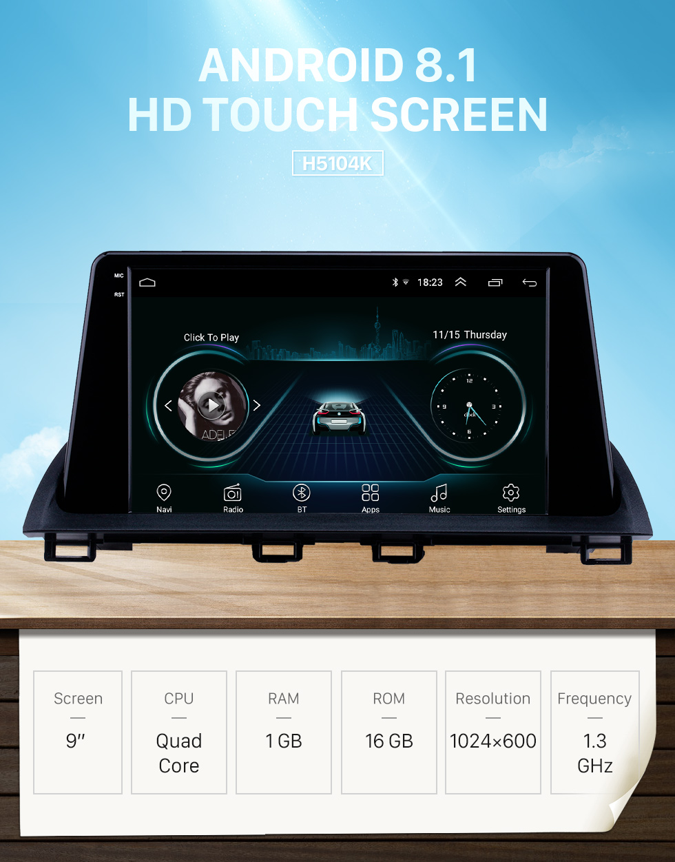 HD Touchscreen 2014 2015 Mazda 3 Axela 9 inch Android 8 1