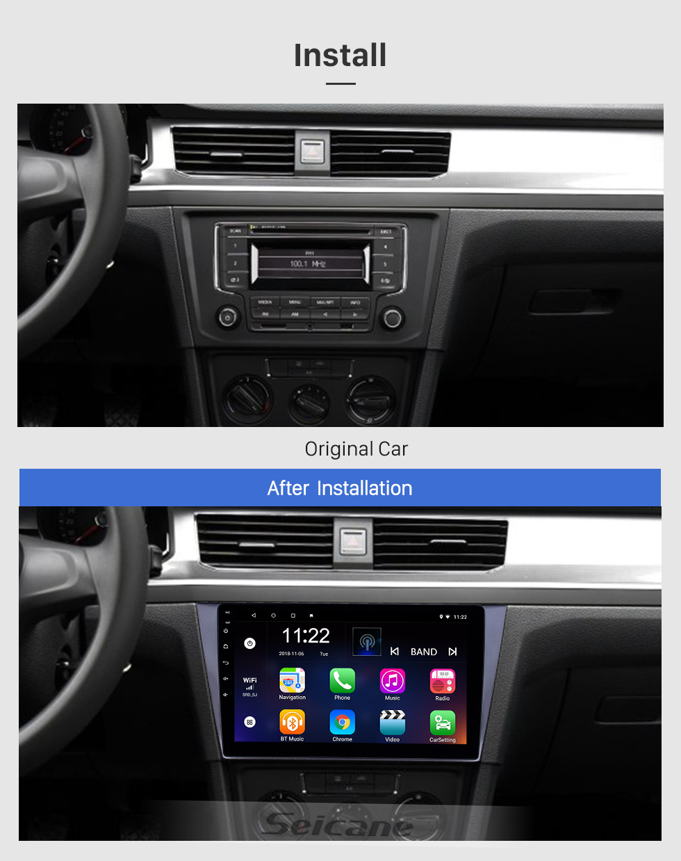 Seicane 10,1 pouces Android 8.1 Radio de navigation GPS pour 2016-2018 VW Volkswagen Bora avec support tactile HD Bluetooth WIFI Carplay SWC