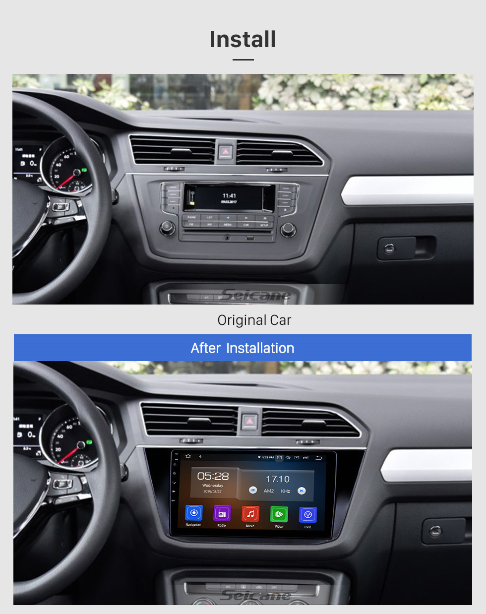 Seicane 10.1 inch Android 9.0 Radio for 2016-2018 VW Volkswagen Tiguan Bluetooth HD Touchscreen GPS Navigation Carplay USB support TPMS DAB+ DVR