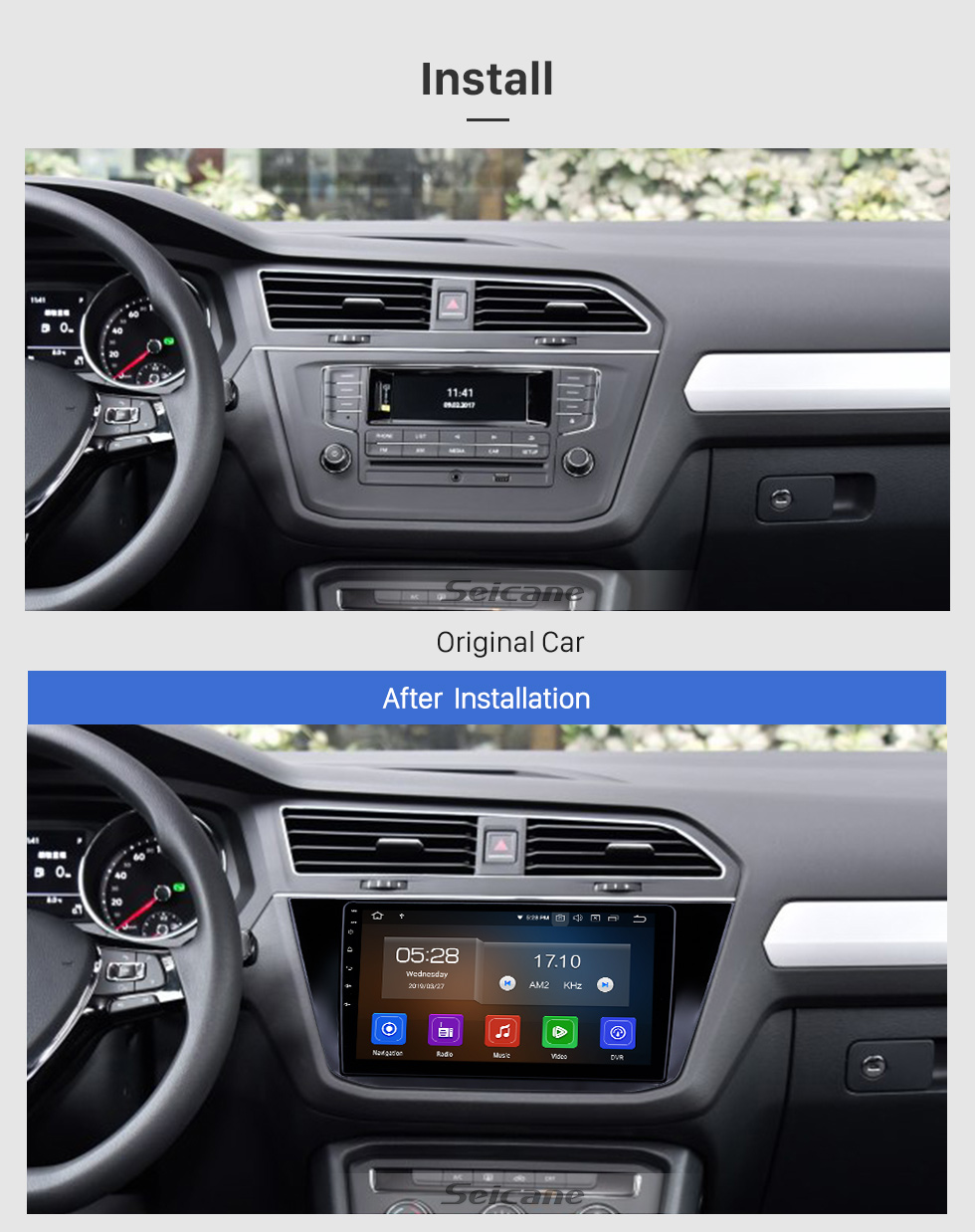 Seicane 10.1 inch 2016-2018 VW Volkswagen Tiguan Android 9.0 GPS Navigation Radio Bluetooth HD Touchscreen AUX USB Carplay support Mirror Link