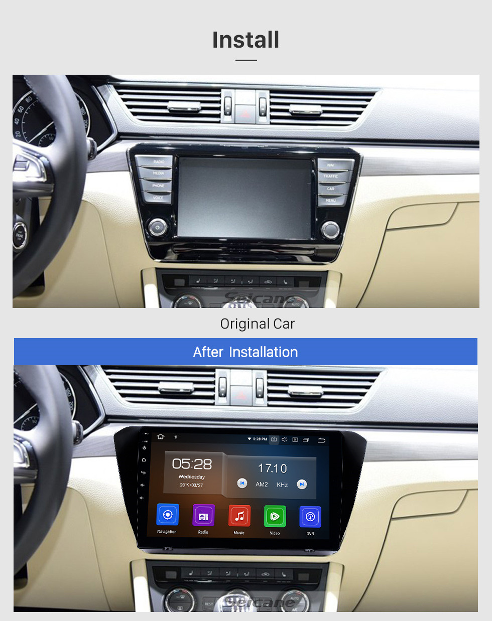 Seicane 10,1 Zoll Android 9.0 Radio für 2015-2018 Skoda Superb Bluetooth HD Touchscreen GPS Navigation Carplay USB-Unterstützung TPMS DAB + DVR