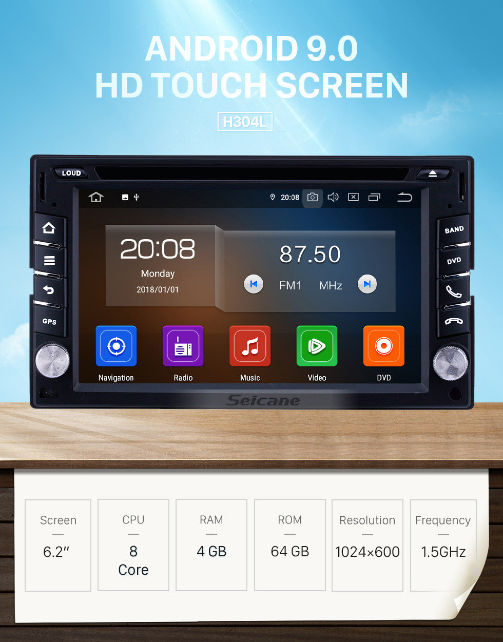 Seicane 6.2 inch Android 9.0 Universal Radio Bluetooth AUX HD Touchscreen WIFI GPS Navigation Carplay USB support TPMS DVR
