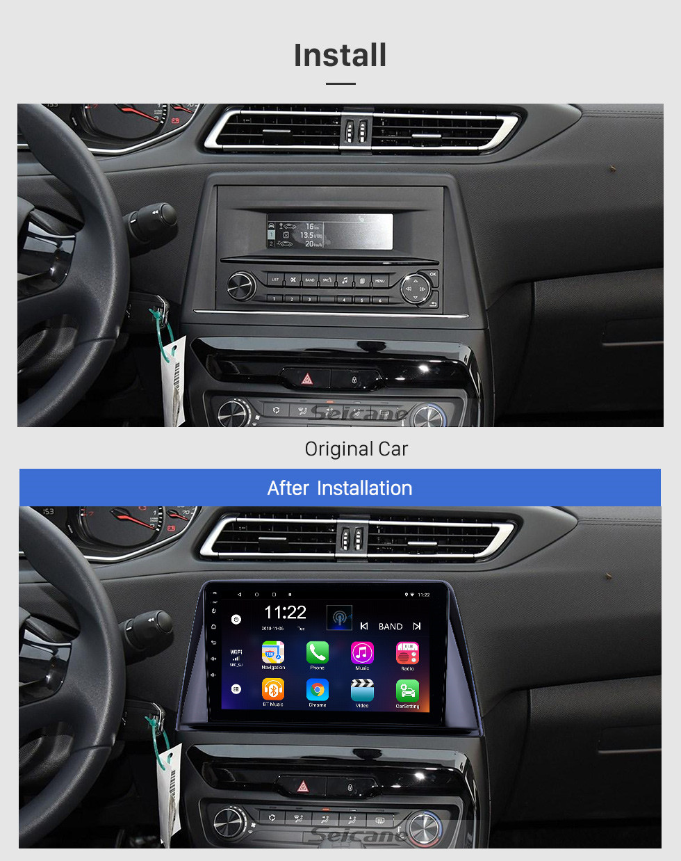 Seicane 2016-2018 Peugeot 308 Android 9.0 9 inch GPS Navigation Radio Bluetooth HD Touchscreen USB Carplay support TPMS DAB+ 1080P