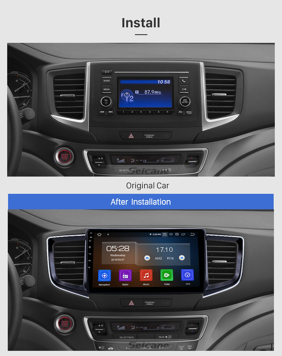 Seicane 10.1 inch Android 9.0 Radio for 2016-2018 Honda Pilot Bluetooth Touchscreen GPS Navigation Carplay USB AUX support TPMS DAB+ SWC