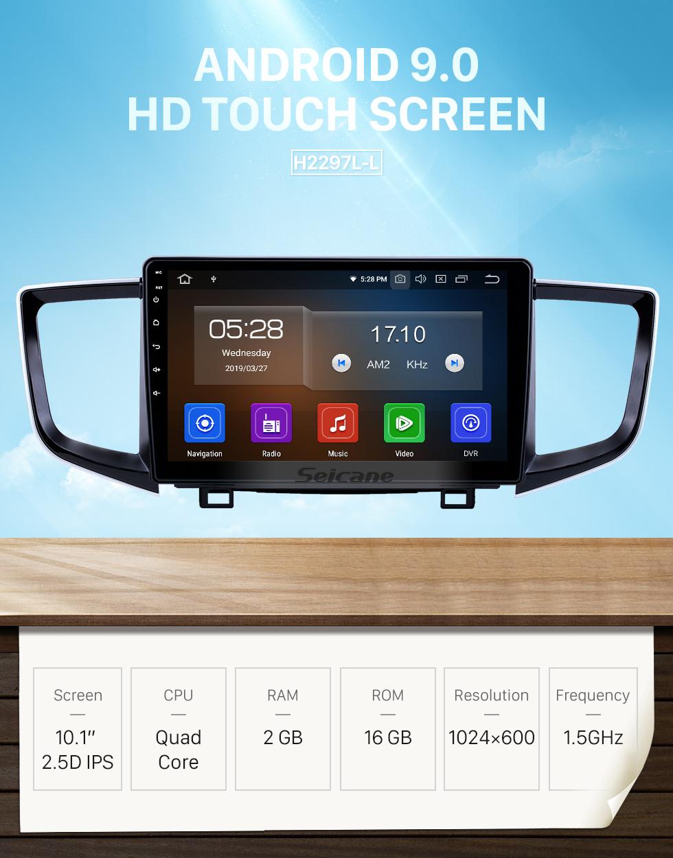 Seicane 10,1 Zoll Android 9.0 Radio für 2016-2018 Honda Pilot Bluetooth HD Touchscreen GPS-Navigation Carplay-Unterstützung Rückfahrkamera