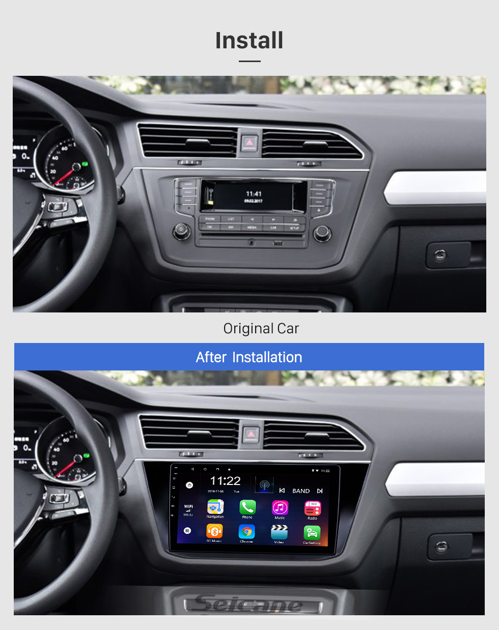 Seicane 10,1 pouces Android 8.1 Radio de navigation GPS pour 2016-2018 VW Volkswagen Tiguan avec écran tactile Bluetooth support USB Carplay TPMS