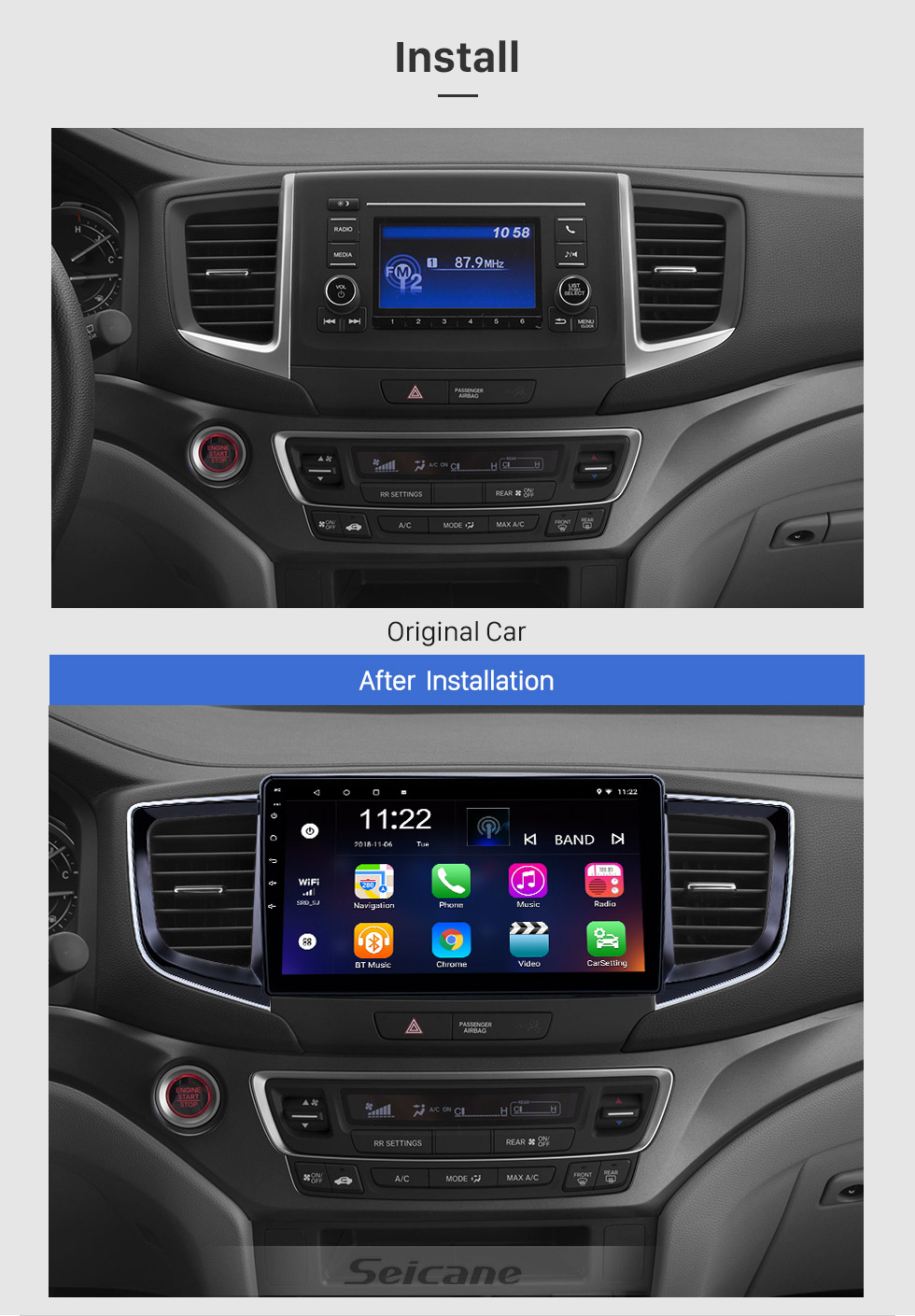 Seicane 10.1 inch Android 8.1 GPS Navigation Radio for 2016-2018 Honda Pilot with HD Touchscreen Bluetooth WIFI support Carplay SWC