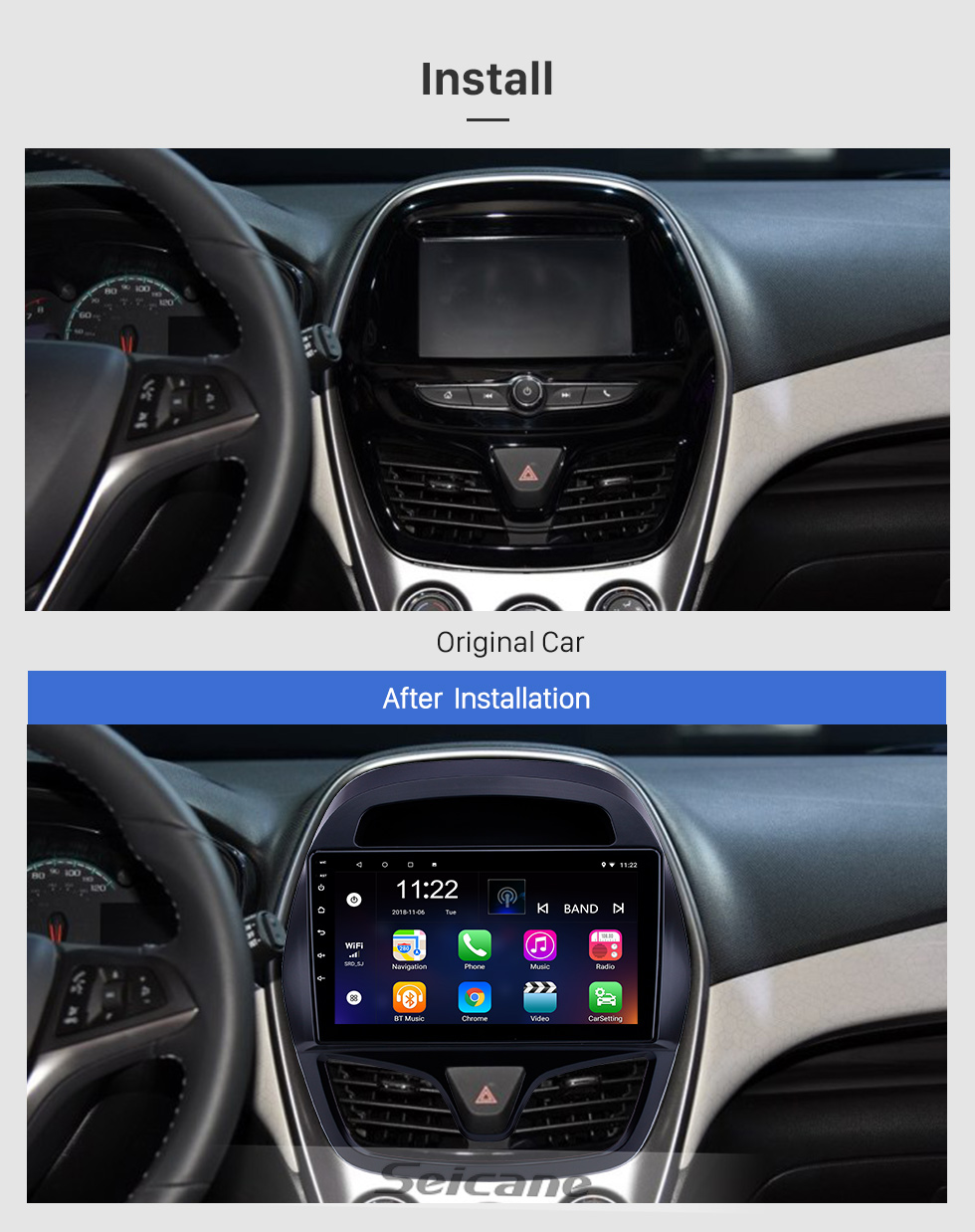 Seicane Android 8.1 9 inch Touchscreen GPS Navigation Radio for 2015-2018 chevy Chevrolet Spark Beat Daewoo Martiz with Bluetooth support Carplay SWC DAB+