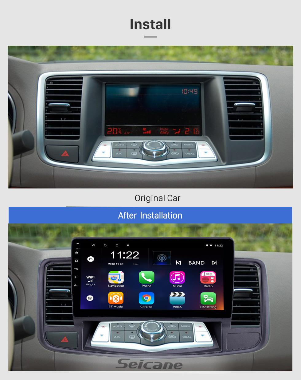 Seicane 2009-2013 Nissan Old Teana Android 8.1 Pantalla táctil 10.1 pulgadas Unidad principal Bluetooth Navegación GPS Radio con soporte AUX WIFI OBD2 DVR SWC Carplay