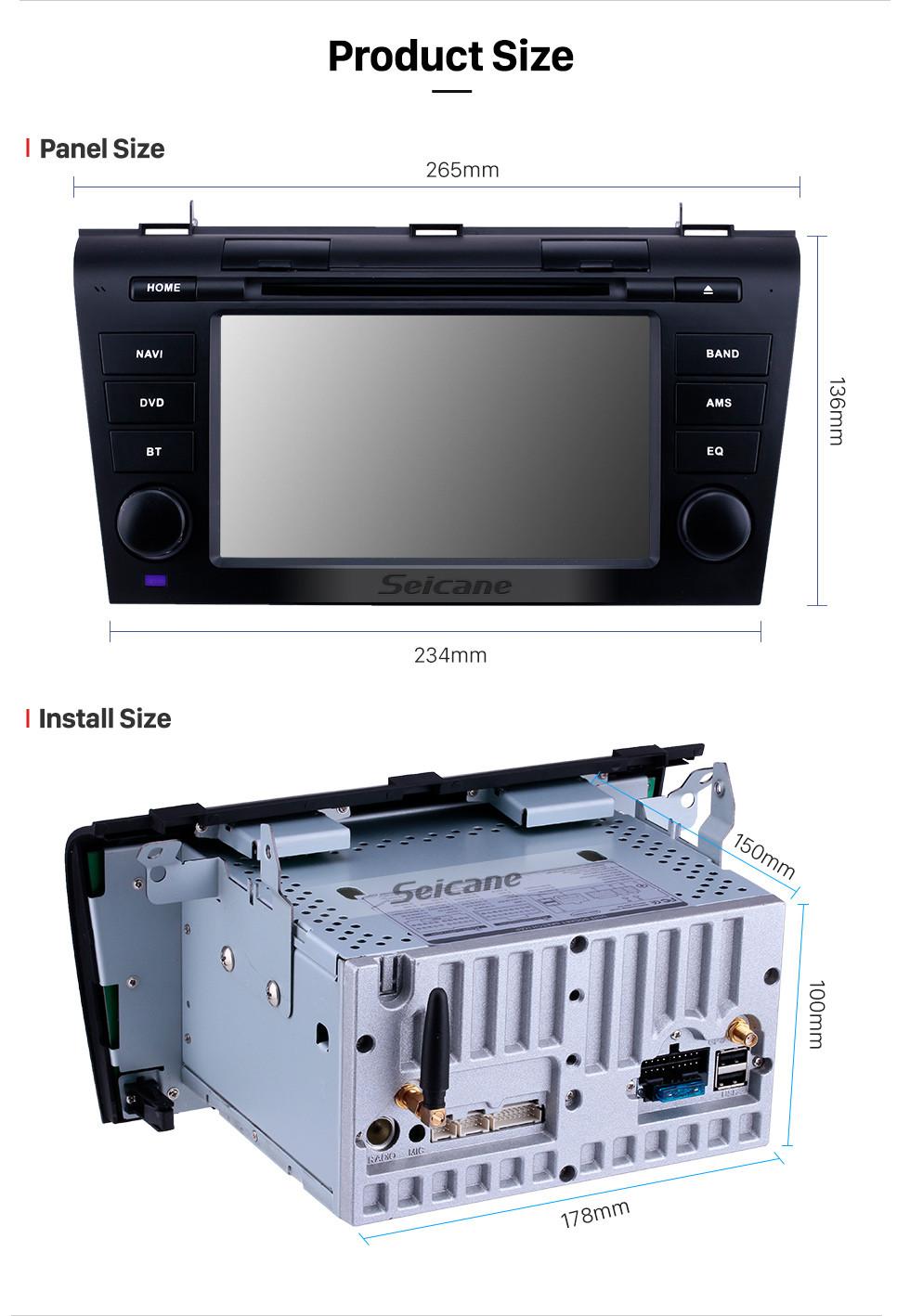 Seicane 7 pulgadas con Android 9.0 Radio de navegación GPS para 2007-2009 Mazda 3 con pantalla táctil HD Carplay Bluetooth WIFI, soporte OBD2 1080P DVR