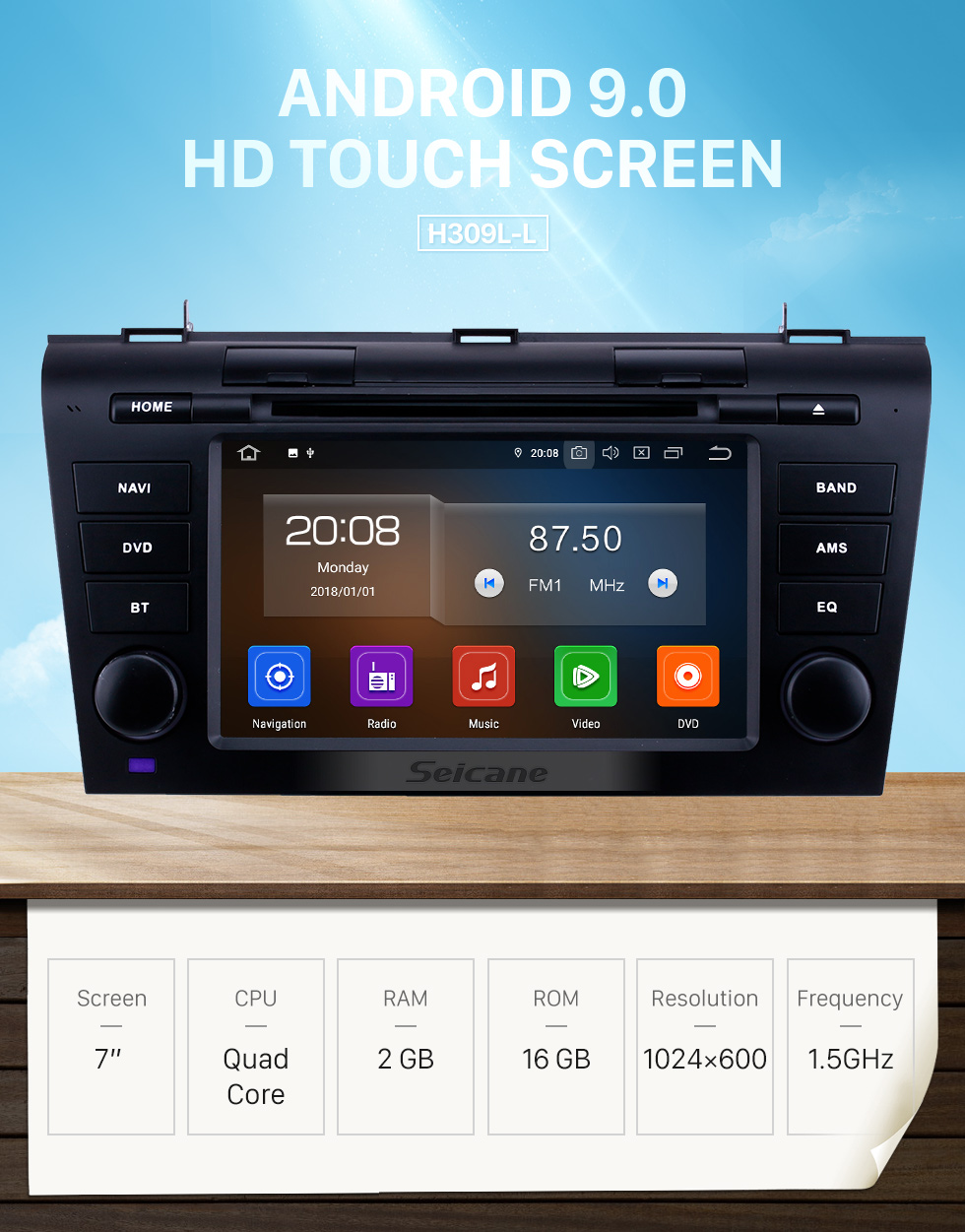 Seicane 7 inch Android 9.0 GPS Navigation Radio for 2007-2009 Mazda 3 with HD Touchscreen Carplay Bluetooth support Rear camera Digital TV