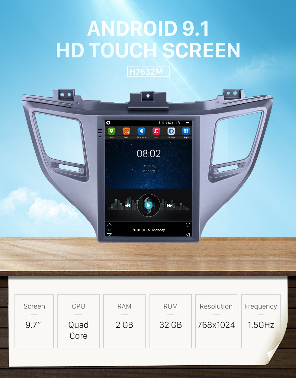 Seicane 2015 Hyundai Tucson 9.7 inch Android 9.1 GPS Navigation Radio with HD Touchscreen Bluetooth WIFI support Carplay Rear camera