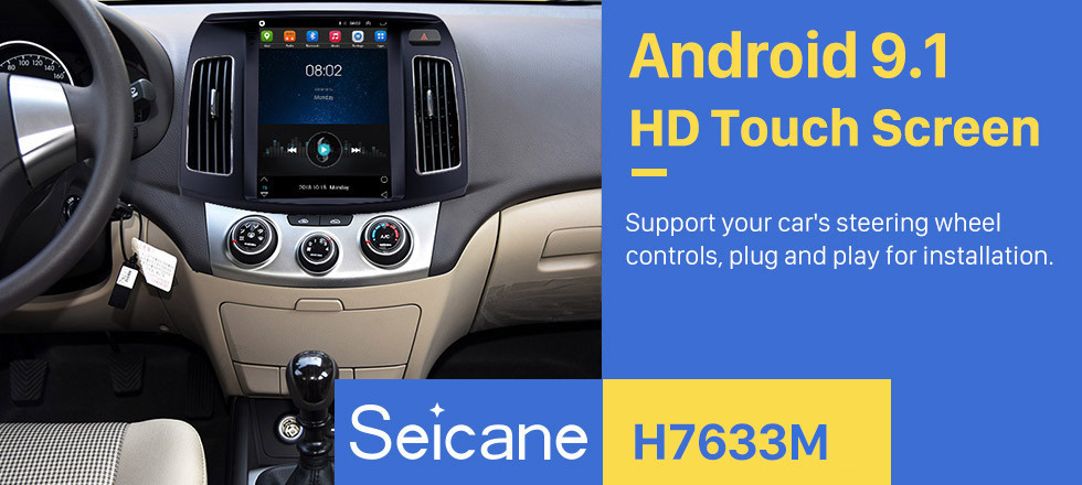 Seicane Android 9.1 9.7 inch GPS Navigation Radio for 2011-2016 Hyundai Elantra with HD Touchscreen Bluetooth AUX support Carplay DVR OBD2
