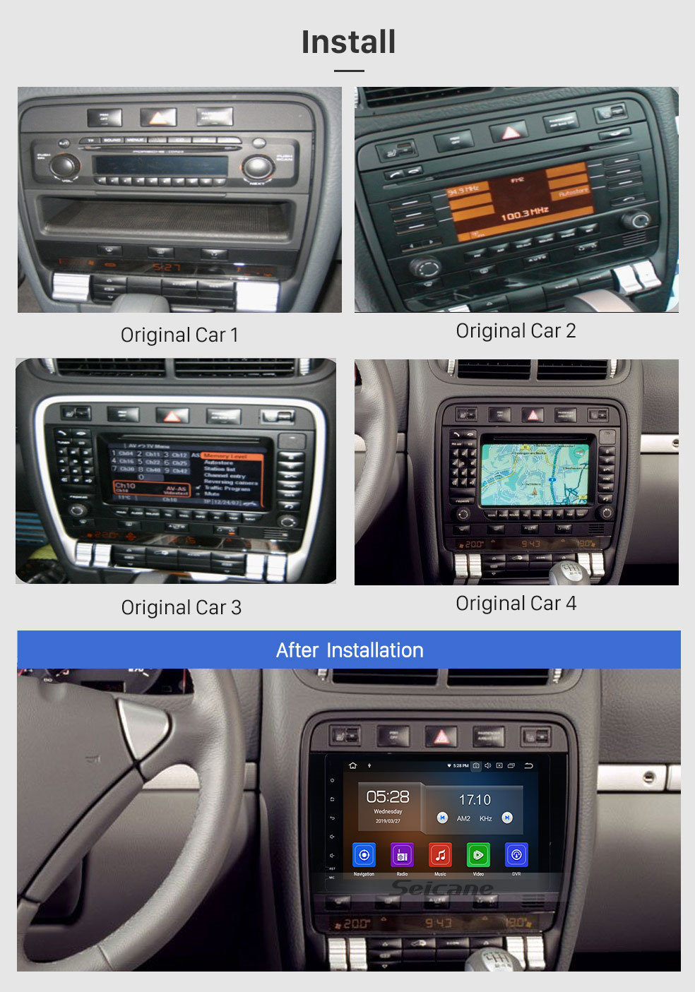 Seicane 2003 2004 2005-2011 Porsche cayenne 8 inch Android 9.0 HD Full Touchscreen Radio Bluetooth GPS Navi WIFI USB Bluetooth Mirror Link Support OBD2 DVR 1080P