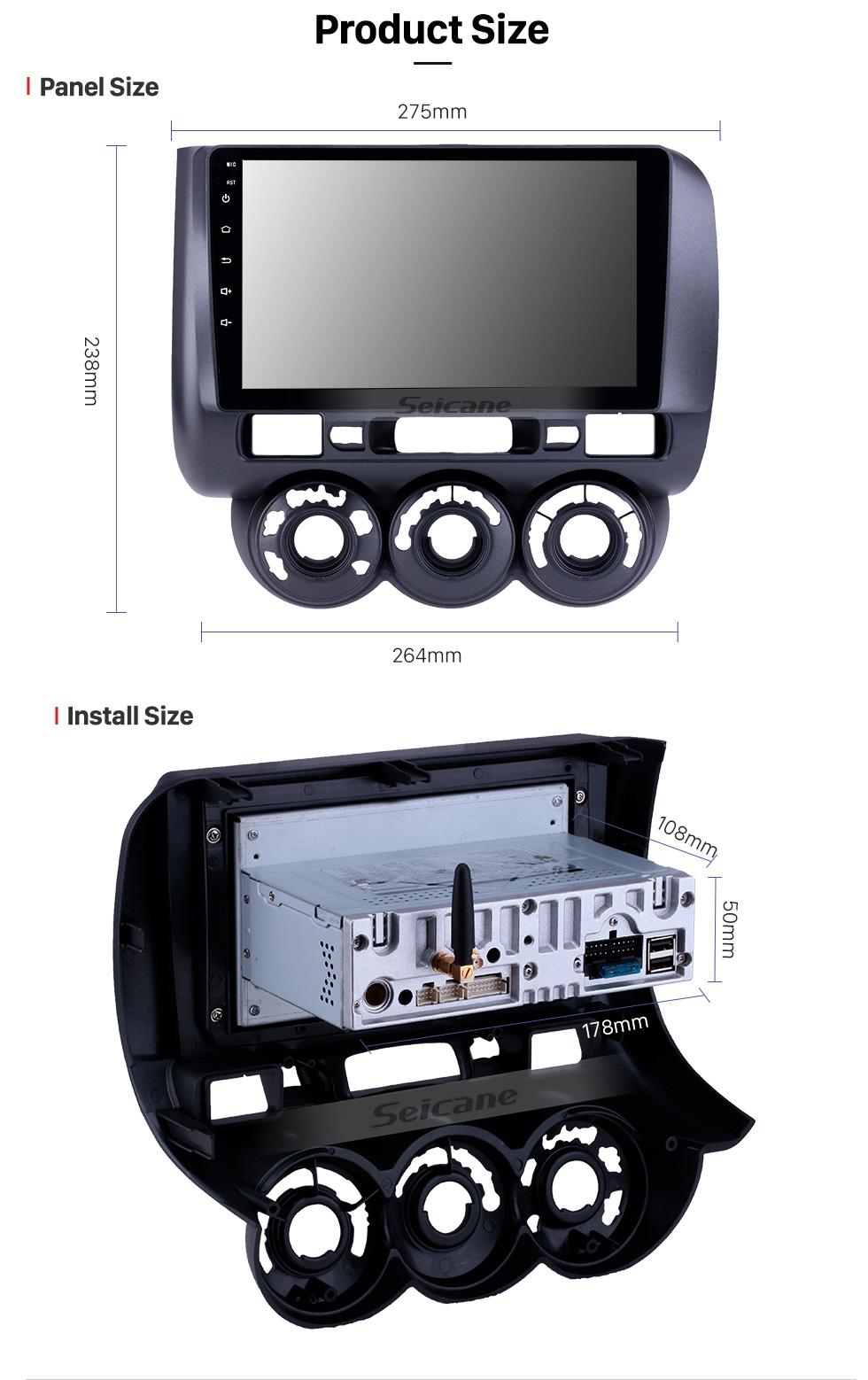 Seicane 2002-2008 Honda Jazz Manual AC Android 9.0 9 inch GPS Navigation Radio Bluetooth HD Touchscreen Carplay support Digital TV