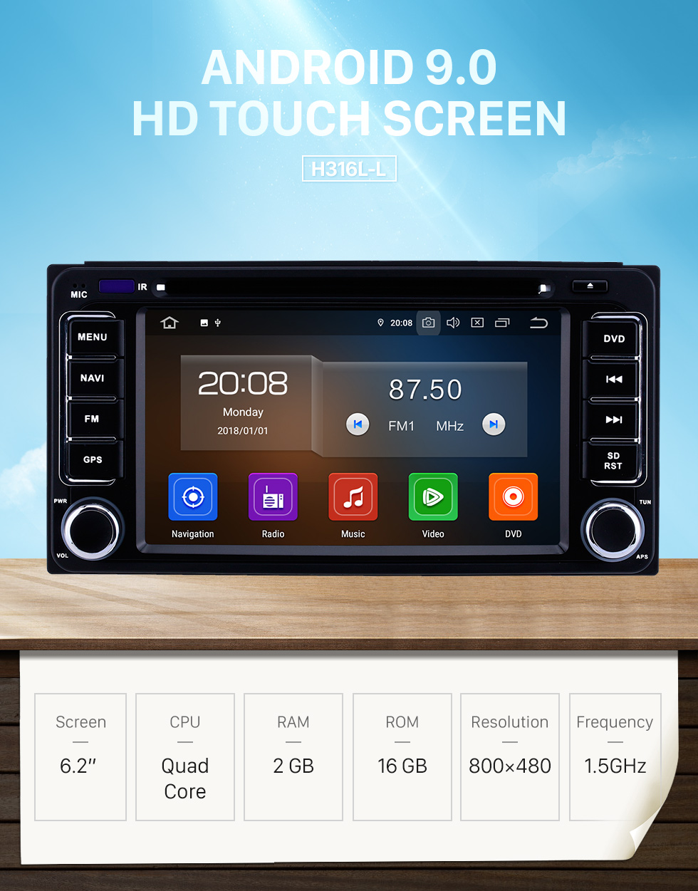 Seicane 6.2 inch Android 9.0 GPS Navigation Radio for 1996-2018 Toyota Vitz Echo RAV4 Hilux Terios with HD Touchscreen Carplay Bluetooth support Digital TV