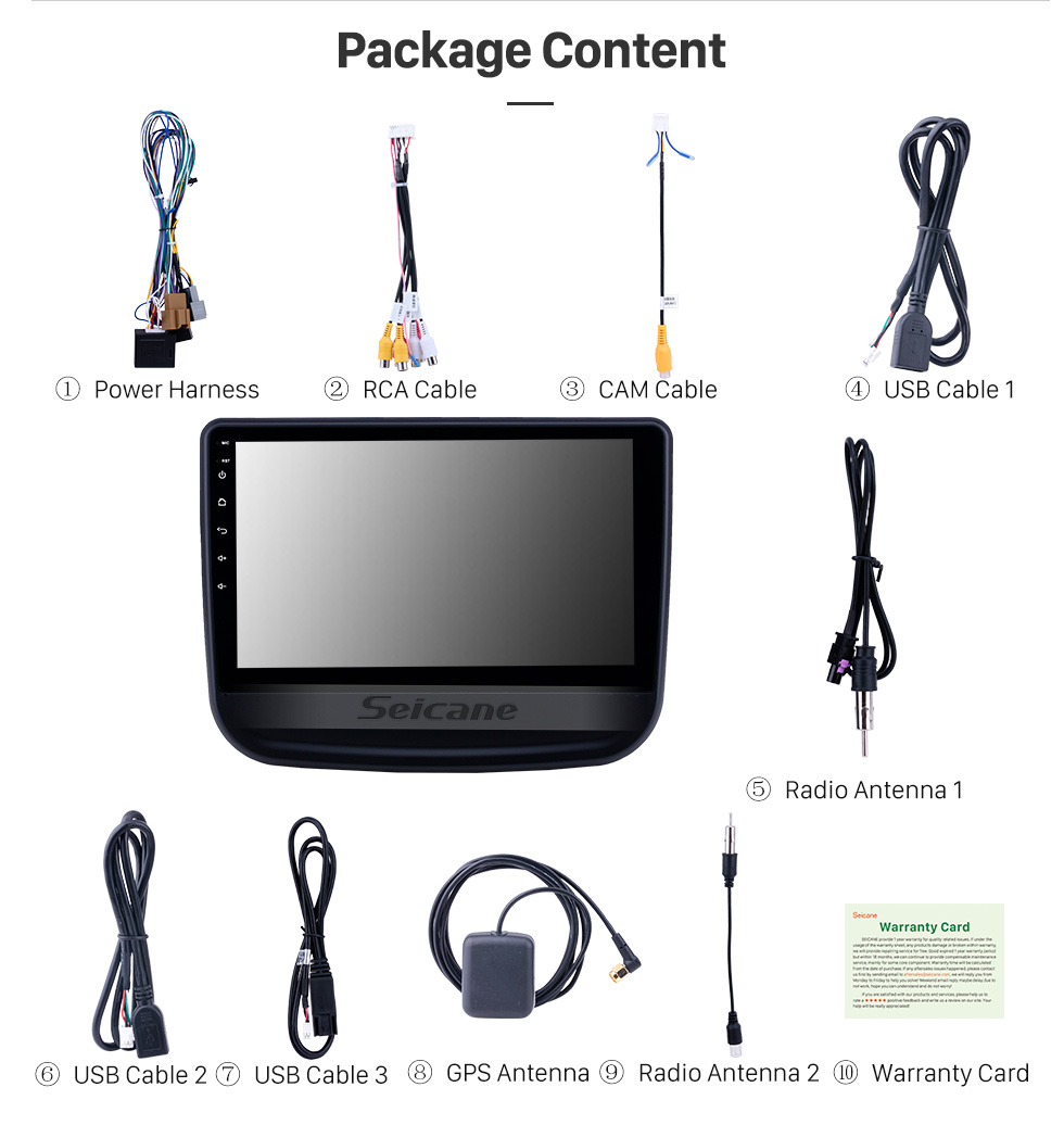 Seicane 10.1 inch Android 8.1 GPS Navigation Radio for 2016-2018 chevy Chevrolet Equinox with HD Touchscreen Bluetooth USB support Carplay TPMS