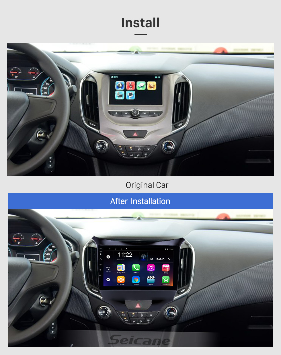 Seicane 2015-2018 chevy Chevrolet Cruze Android 8.1 HD Touchscreen 9 inch Head Unit Bluetooth GPS Navigation Radio with AUX support OBD2 SWC Carplay