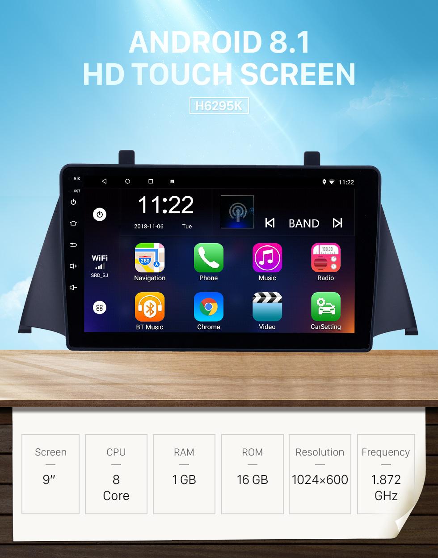 Seicane Écran tactile HD 9 pouces Android 8.1 Radio de navigation GPS pour 2015 Zotye Domy x5 avec support Bluetooth AUX WIFI Carplay DAB + DVR TPMS