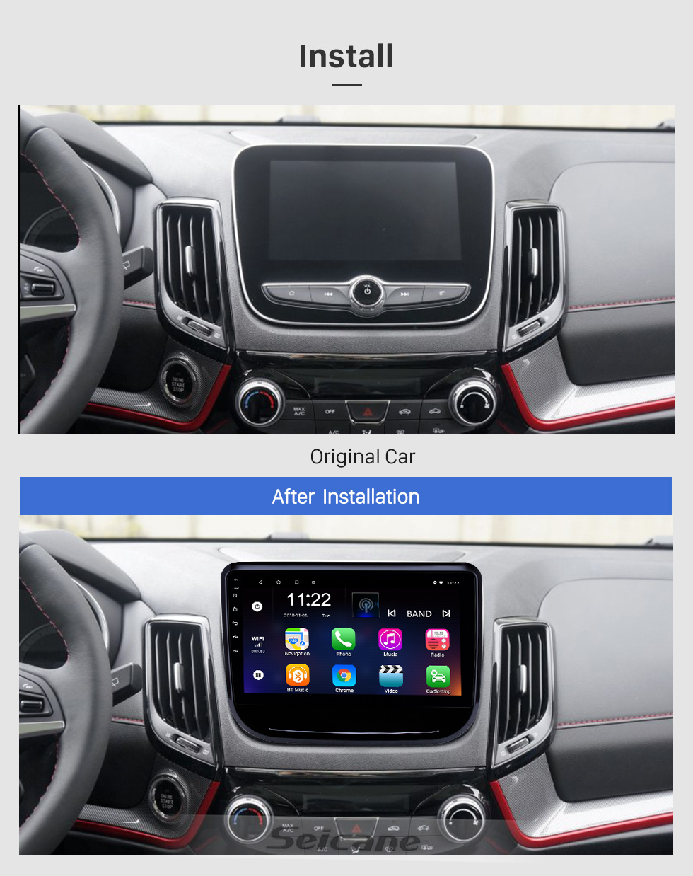 Seicane 10,1 pouces Android 8.1 Radio de navigation GPS pour 2017-2018 Changan CS55 avec support tactile Bluetooth Bluetooth USB Carplay TPMS