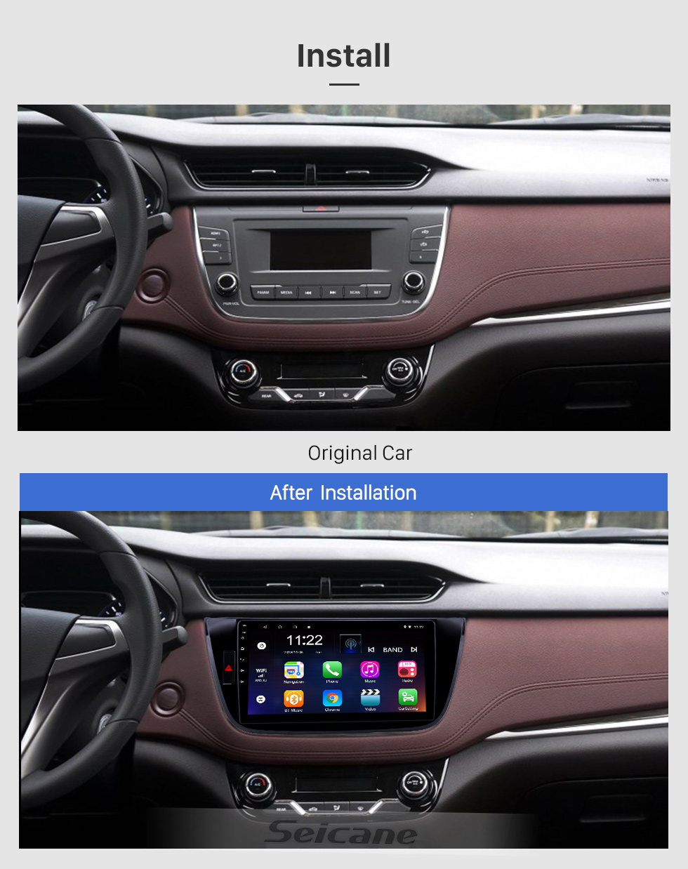 Seicane 10,1 pouces Android 8.1 HD Radio tactile Navigation GPS pour 2017-2018 Changan LingXuan avec support Bluetooth Carplay Mirror Link