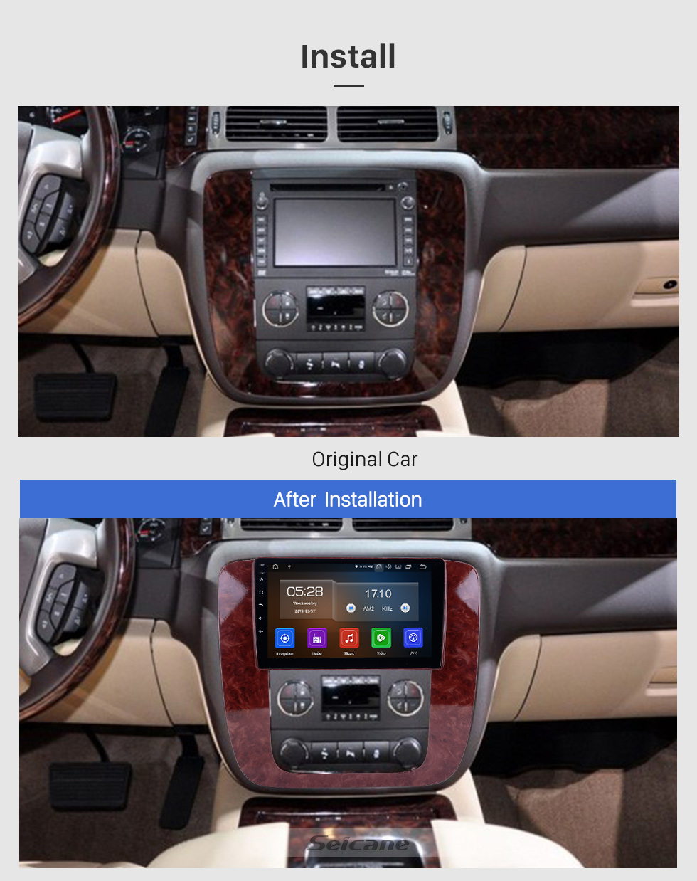 Seicane Android 9.0 9 Zoll GPS Navigationsradio für 2007-2012 GMC Yukon / Acadia / Tahoe Chevy Chevrolet Tahoe / Suburban Buick Enklave mit HD Touchscreen Carplay Bluetooth Unterstützung OBD2