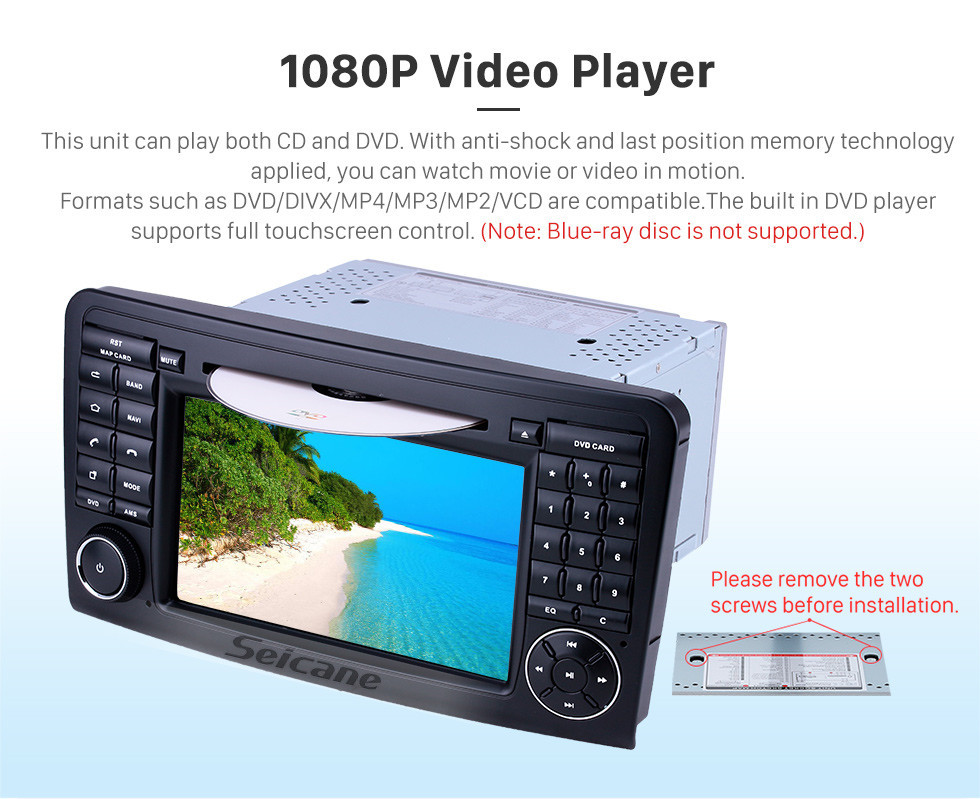 Seicane 7 Zoll Android 9.0 GPS Navigationsradio für 2005-2012 Mercedes Benz ML KLASSE W164 ML350 ML430 ML450 ML500 / GL KLASSE X164 GL320 mit HD Touchscreen Carplay Bluetooth Unterstützung DVR