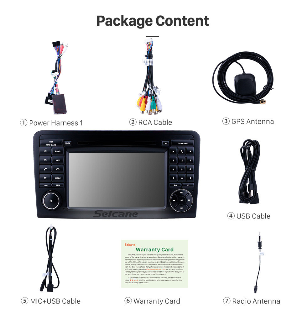 Seicane 7 inch Android 9.0 GPS Navigation Radio for 2005-2012 Mercedes Benz ML CLASS W164 ML350 ML430 ML450 ML500/GL CLASS X164 GL320 with HD Touchscreen Carplay Bluetooth support DVR