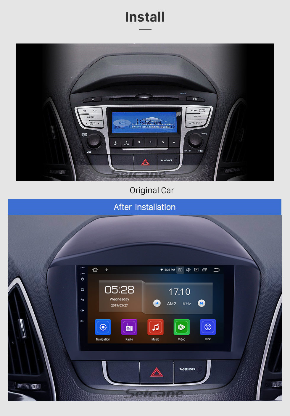 Seicane 2010-2017 Hyundai iX35 9 inch Android 9.0 GPS Navigation Radio with HD Touch Screen Bluetooth USB WIFI Carplay support Mirror Link OBD2