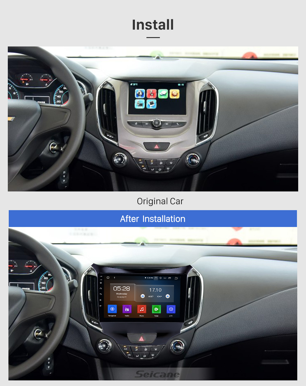 Seicane 9 inch Android 9.0 GPS Navigation Radio for 2015-2018 chevy Chevrolet Cruze with HD Touchscreen Carplay AUX Bluetooth support 1080P