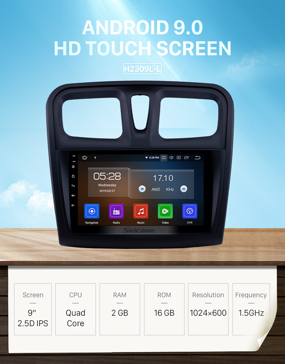 Seicane HD Touchscreen 2012-2017 Renault Sandero Android 9.0 9 inch GPS Navigation Radio Bluetooth Carplay support DAB+ OBD2