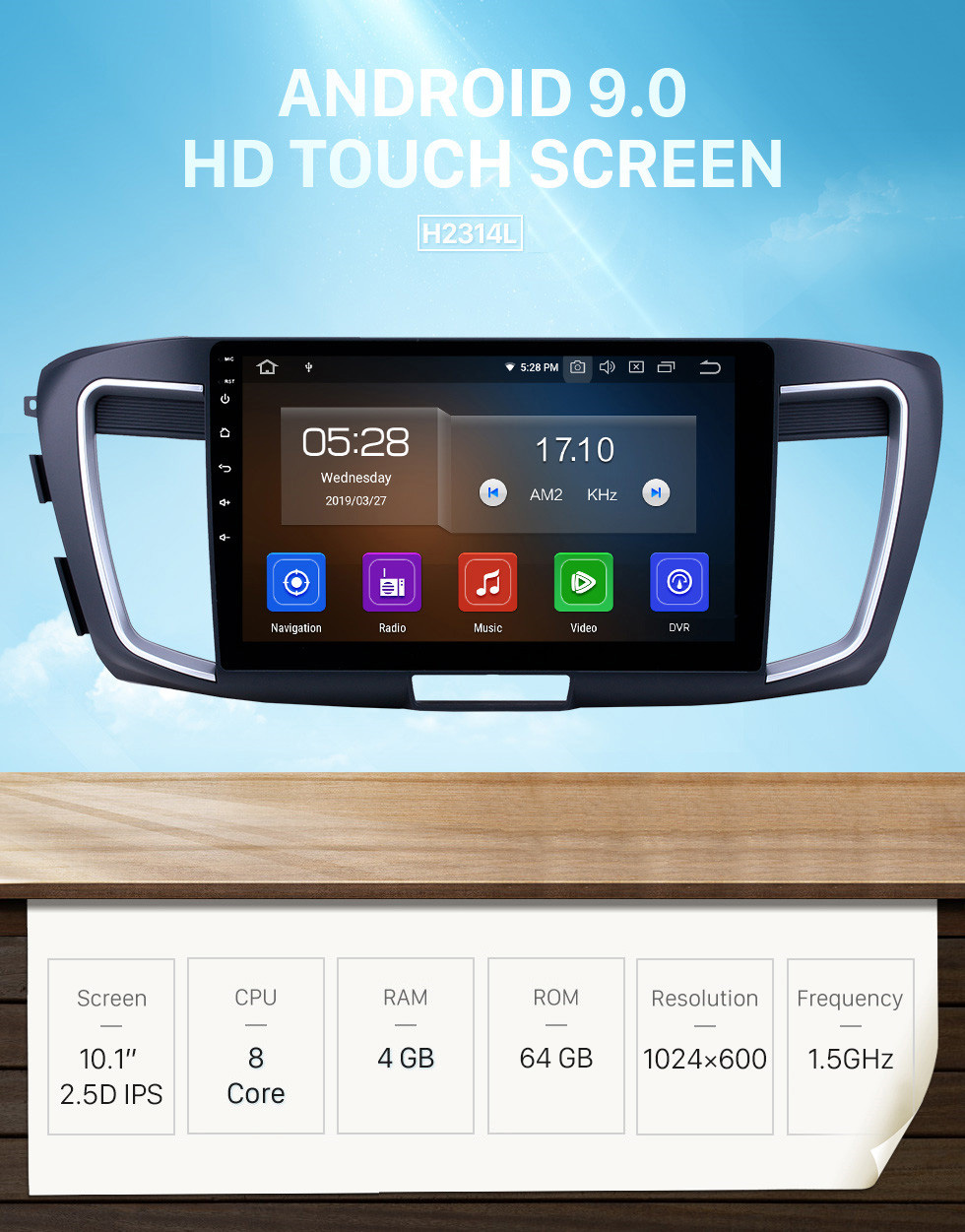 Seicane 10.1 inch Android 9.0 Radio for 2013 Honda Accord 9 Low Version Bluetooth Touchscreen GPS Navigation Carplay USB AUX support TPMS DAB+ SWC