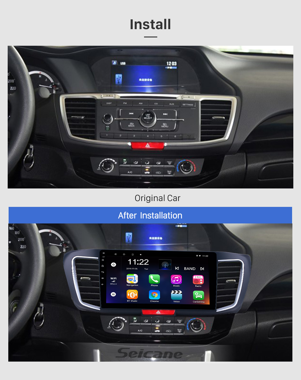 Seicane 10,1 pouces Android 9.0 Radio de navigation GPS pour 2013 Honda Accord 9 Version Basse Bluetooth HD à écran tactile WIFI Support de Carplay caméra de recul