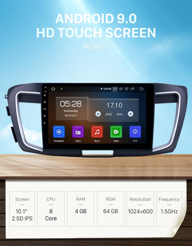 Seicane 10.1 polegada 2013 honda accord 9 alta versão android 9.0 gps rádio de navegação bluetooth hd touchscreen carplay suporte espelho link