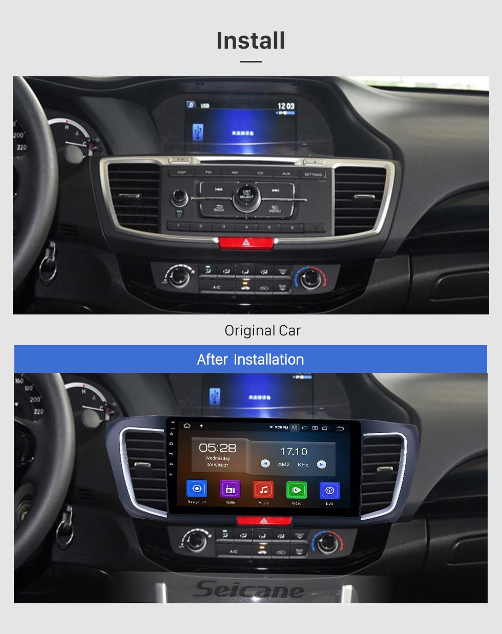 Seicane 10,1 pouces 2013 Honda Accord 9 Version High Android 9.0 Radio de navigation GPS Bluetooth HD Écran tactile Soutien Carplay Miroir Lien