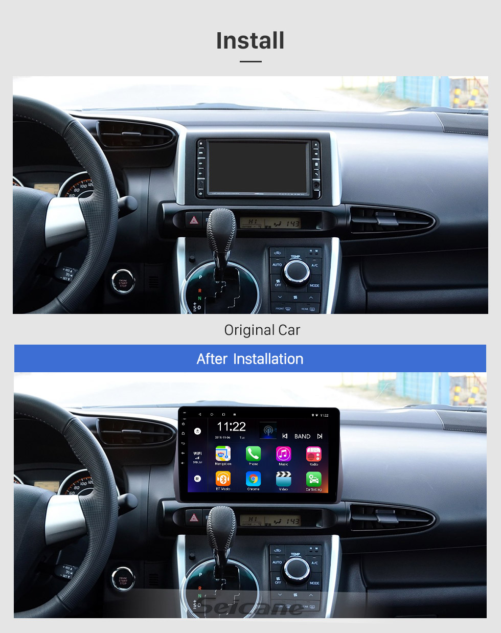 Seicane 10.1 inch Android 8.1 GPS Navigation Radio for 2009-2012 Toyota Wish with HD Touchscreen Bluetooth USB support Carplay TPMS