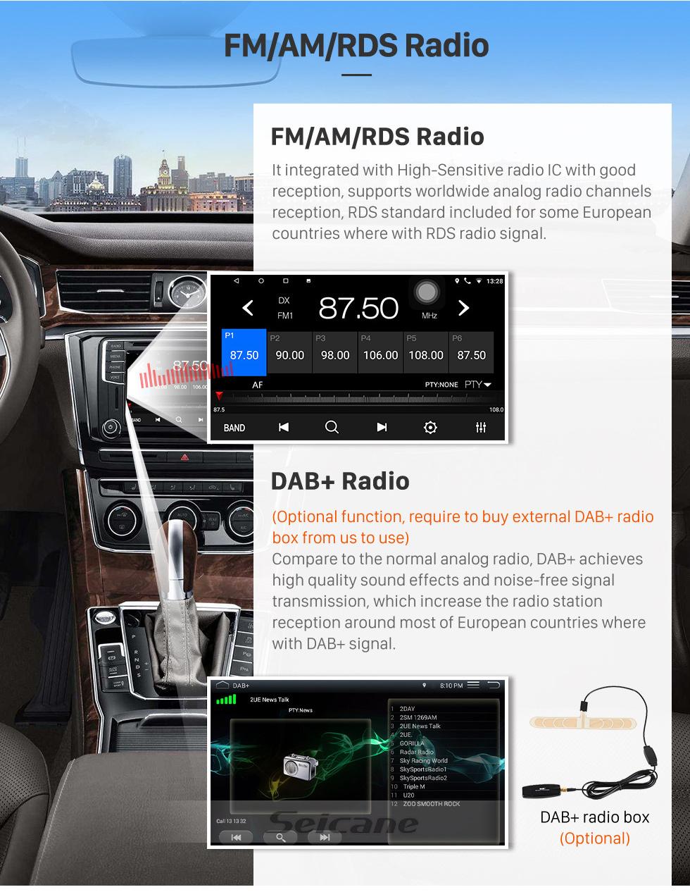 Seicane Android 8.1 9-Zoll-HD-Touchscreen-GPS-Navigationsradio für den Lexus RX300 RX330 RX350 (2003-2010) mit Bluetooth WIFI-Unterstützung Carplay SWC