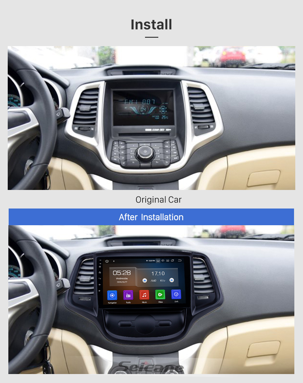 Seicane OEM 9 inch Android 8.1 Radio for 2015 Changan EADO Bluetooth WIFI HD Touchscreen GPS Navigation support Carplay DVR Rear camera