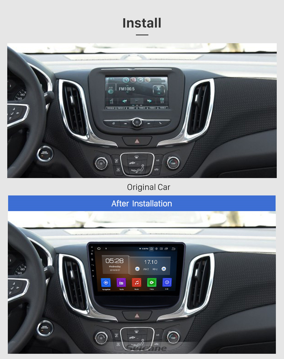 Seicane 10,1 Zoll 2016-2018 Chevrolet Equinox Android 9.0 GPS Navigationsradio Bluetooth HD Touchscreen Carplay Unterstützung Mirror Link