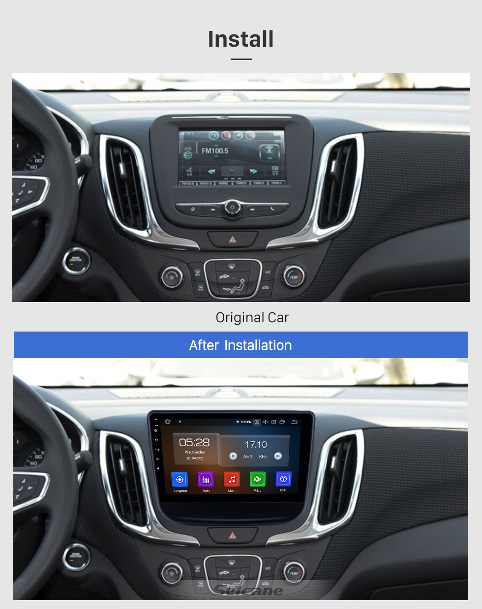 Seicane 10.1 inch Android 9.0 Radio for 2016-2018 chevy Chevrolet Equinox Bluetooth Touchscreen GPS Navigation Carplay support TPMS DAB+