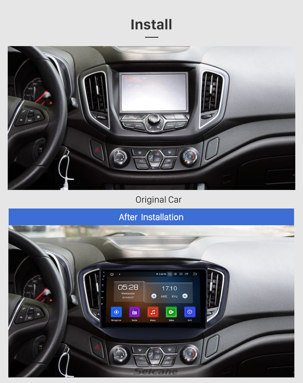 Seicane 10.1 inch Android 9.0 GPS Navigation Radio for 2014-2017 Chery Tiggo 5 with HD Touchscreen Carplay USB Bluetooth support DVR DAB+